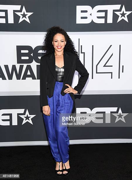 Singer Elle Varner poses in the press room during the BET AWARDS '14 at Nokia Theatre LA LIVE on June 29 2014 in Los Angeles California