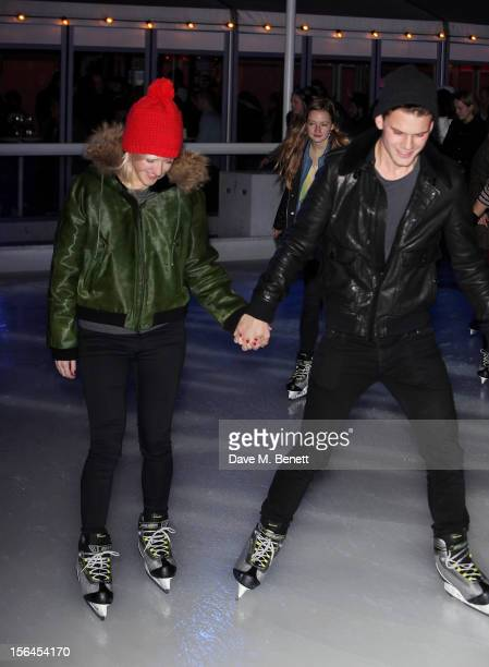 Singer Ellie Goulding and actor Jeremy Irvine attend the VIP launch of Skate at Somerset House on November 15 2012 in London England