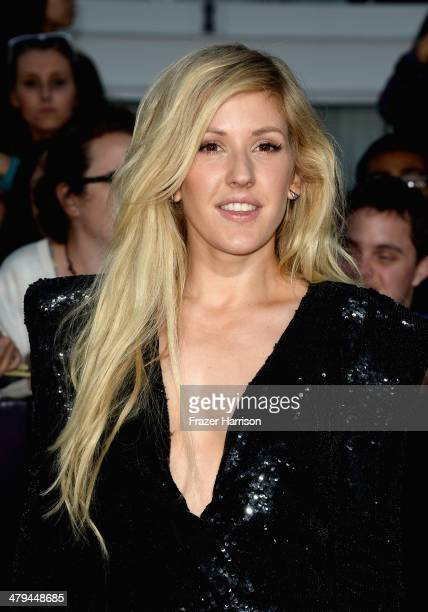 Singer Ellie Goulding arrives at the premiere of Summit Entertainment's Divergent at the Regency Bruin Theatre on March 18 2014 in Los Angeles...