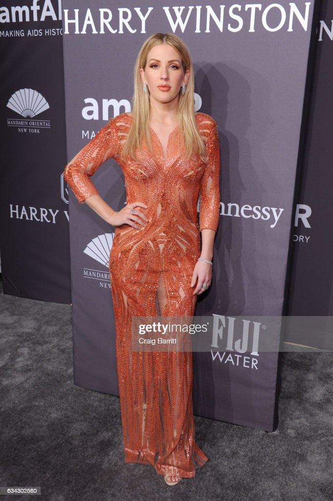 Singer Ellie Goulding attends the amfAR New York Gala 2017 sponsored by FIJI Water at Cipriani Wall Street on February 8, 2017 in New York City.