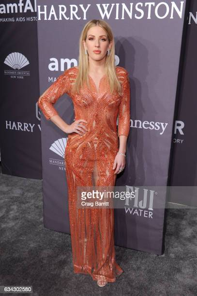 Singer Ellie Goulding attends the amfAR New York Gala 2017 sponsored by FIJI Water at Cipriani Wall Street on February 8 2017 in New York City