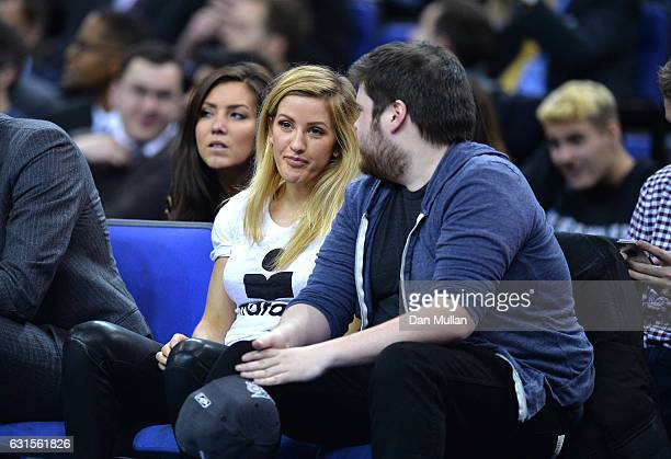 Singer Ellie Goulding looks on during the NBA match between Indiana Pacers and Denver Nuggets at the O2 Arena on January 12 2017 in London England