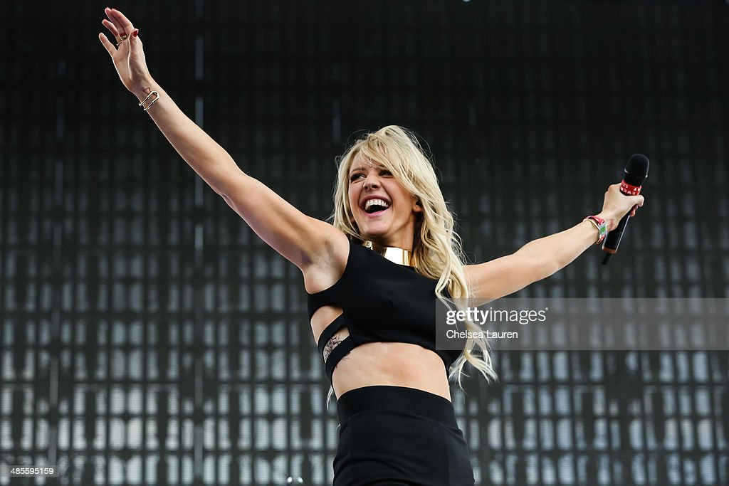Singer Ellie Goulding performs at the 2014 Coachella Valley music and arts festival at The Empire Polo Club on April 18, 2014 in Indio, California.
