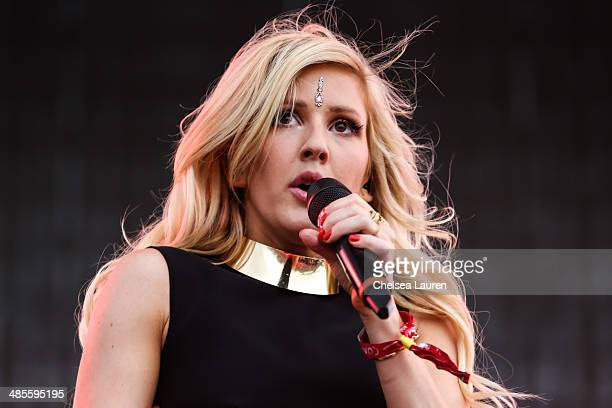Singer Ellie Goulding performs at the 2014 Coachella Valley music and arts festival at The Empire Polo Club on April 18 2014 in Indio California
