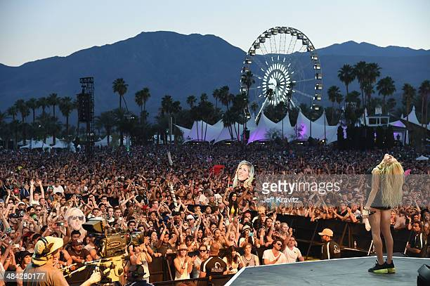 Singer Ellie Goulding performs onstage during day 1 of the 2014 Coachella Valley Music Arts Festival at the Empire Polo Club on April 11 2014 in...