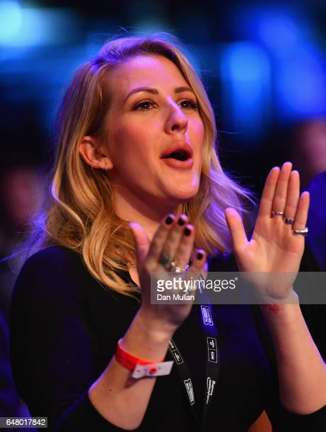 Singer Ellie Goulding shows her support for Katie Taylor during her SuperFeatherweight contest against Monica Gentili at The O2 Arena on March 4 2017...