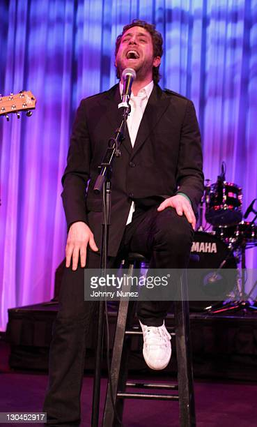 Singer Elliott Yamin performs at the 11th Annual Uniting Nations Awards viewing and dinner after party at The Beverly Hilton hotel on March 7 2010 in...