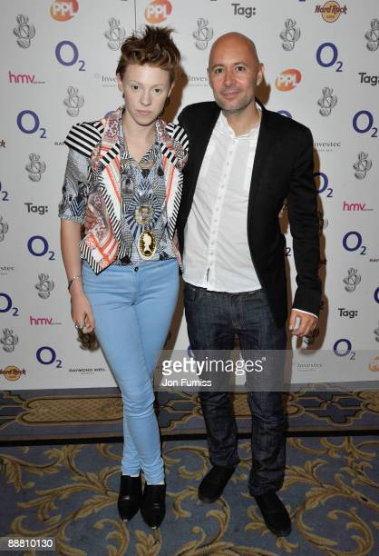 Singer Elly Jackson and producer Ben Langmaid of La Roux attend the O2 Silver Clef Awards 2009 at the London Hilton on July 3 2009 in London England