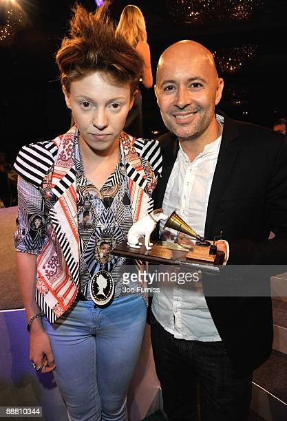 Singer Elly Jackson and producer Ben Langmaid of La Roux with their Best New Music award during the O2 Silver Clef Awards 2009 at the London Hilton...