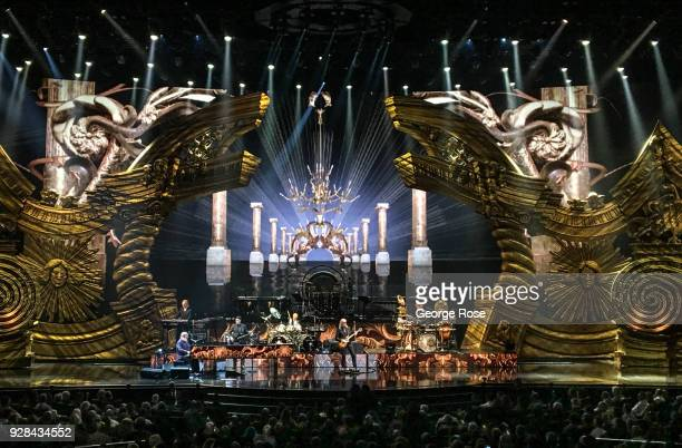 Singer Elton John performs in a final appearance at Ceasars Palace Hotel & Casino on March 1, 2018 in Las Vegas, Nevada. Millions of visitors from...