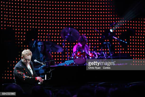 Singer Elton John performs live with his band at the Rose Garden in Portland during his 2006 tour of the USA