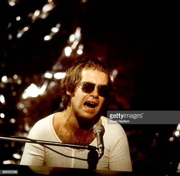 Singer Elton John performs on 'Sounds for Saturday' television show filmed at BBC Television Centre in London England on December 08 1971