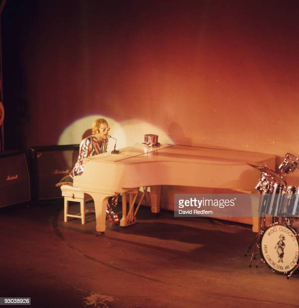 Singer Elton John performs on stage at the Palladium in London England on October 10 1972