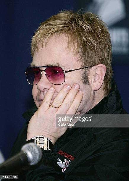 Singer Elton John talks to the press before the 12th Annual World Team Tennis Smash Hits an annual event benefiting the Elton John AIDS Foundation on...