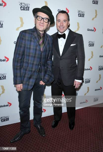 Singer Elvis Costello and David Furnish attend the 25th Annual Gemini Awards Gala at the Winter Garden Theatre on November 13, 2010 in Toronto,...
