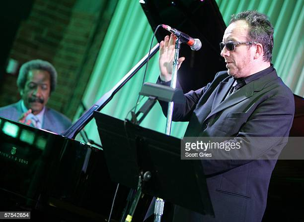 Singer Elvis Costello and pianist Allen Toussaint perform at the Tribeca/ASCAP Music Lounge at the Canal Room May 5, 2006 in New York City.