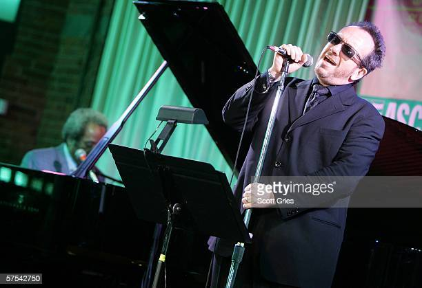 Singer Elvis Costello and pianist Allen Toussaint perform at the Tribeca/ASCAP Music Lounge at the Canal Room May 5 2006 in New York City