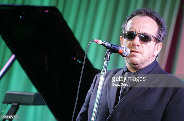 Singer Elvis Costello performs at the Tribeca/ASCAP Music Lounge at the Canal Room May 5 2006 in New York City