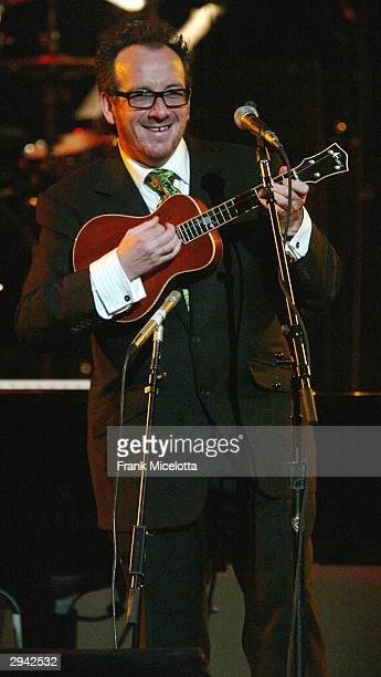 Singer Elvis Costello performs on February 6, 2004 at the Musicares 2004 Person of the Year Tribute to Sting at Sony Pictures Studios in Los Angeles,...