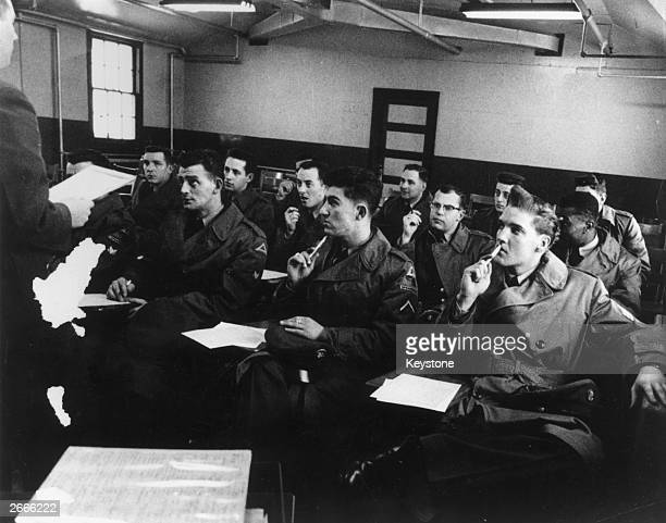 Singer Elvis Presley in a classroom when in the Army.