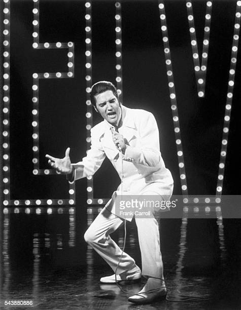Singer Elvis Presley records a special program for NBC to be aired December 1968
