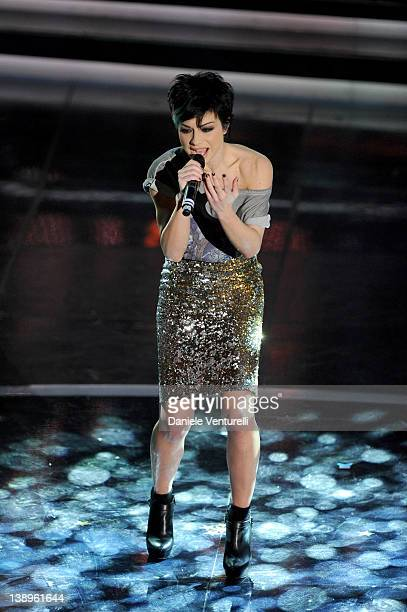 Singer Emanuela Trane known as Dolcenera performs on stage at the opening night of the 62th Sanremo Song Festival at the Ariston Theatre on February...