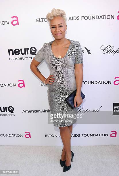 Singer Emeli Sande attends the 21st Annual Elton John AIDS Foundation Academy Awards Viewing Party at West Hollywood Park on February 24 2013 in West...