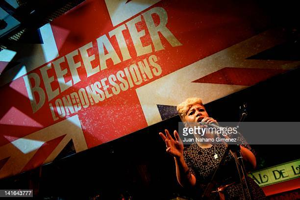 Singer Emeli Sande performs on stage at the Beefeater London Sessions in El Corral de la Pacheca on March 20 2012 in Madrid Spain