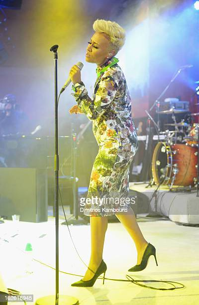 Singer Emeli Sande performs onstage during the 21st Annual Elton John AIDS Foundation Academy Awards Viewing Party at West Hollywood Park on February...