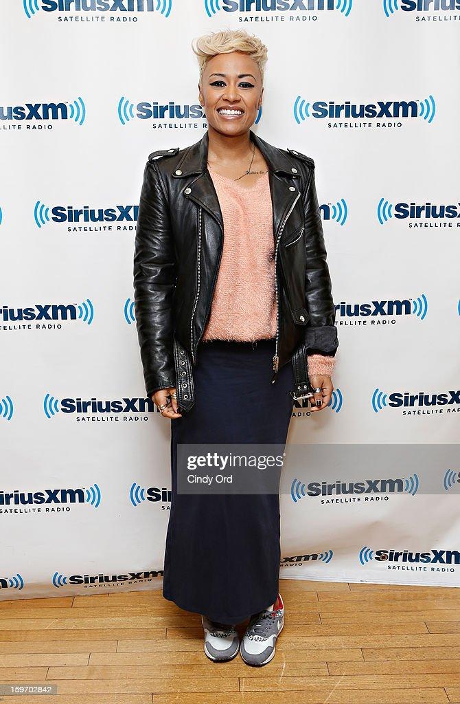 Singer Emeli Sande visits the SiriusXM Studios on January 18, 2013 in New York City.