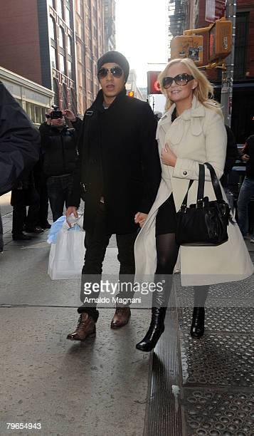 Singer Emma Bunton of the Spice Girls waks with her partner Jade Jones in Soho on February 8 2008 in New York City
