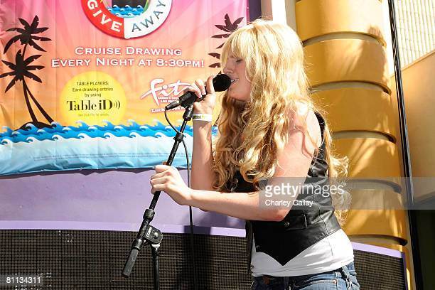 Singer Emma Mae Jacob performs during the Academy of Country Music Celebrity Motorcycle Ride In Concert on Fremont Street on May 17 2008 in Las Vegas...
