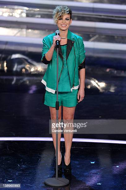 Singer Emma Marrone performs on stage at the opening night of the 62th Sanremo Song Festival at the Ariston Theatre on February 14, 2012 in San Remo,...