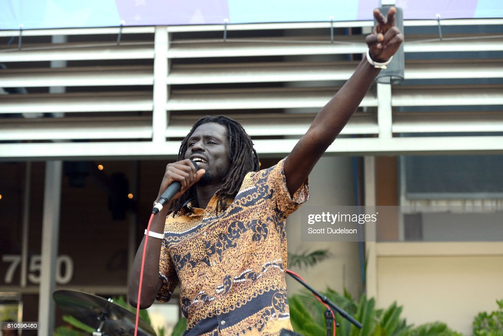 Singer Emmanuel Jal performs onstage during Ringo Starr's 77th birthday at the annual 'Peace & Love' celebration at Capitol Records Tower on July 7, 2017 in Los Angeles, California.
