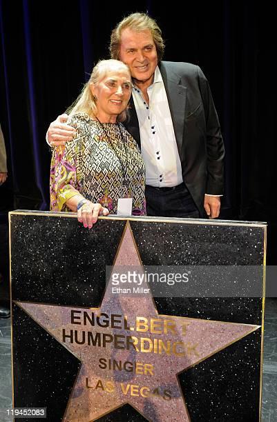 Singer Engelbert Humperdinck and his wife Patricia Dorsey appear with his star at the Paris Las Vegas during Humperdinck's Las Vegas Walk of Stars...