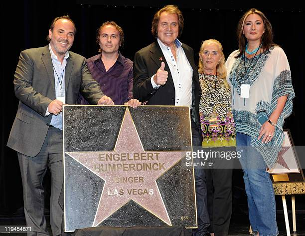 Singer Engelbert Humperdinck appears with his star at the Paris Las Vegas along with his sons Scott Dorsey and Jason Dorsey his wife Patricia Dorsey...
