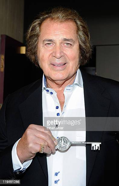 Singer Engelbert Humperdinck displays the ceremonial key to the city he received at Las Vegas City Hall July 20 2011 in Las Vegas Nevada