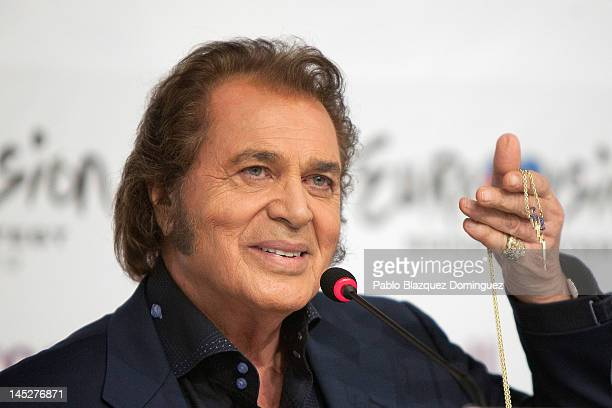 Singer Engelbert Humperdinck of the United Kingdom attends a press conference at Cristal Hall during the lead up to the Eurovision Song Contest on...