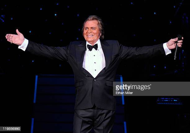 Singer Engelbert Humperdinck performs during the first of four shows at the Theatre des Arts at the Paris Las Vegas July 21 2011 in Las Vegas Nevada...