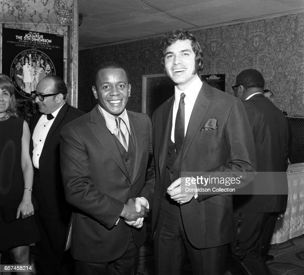 Singer Englebert Humperdinck and comedian Flip Wilson at the vocal group 5th Dimension Liberty UA Records party on May 13 1969 in New York New York