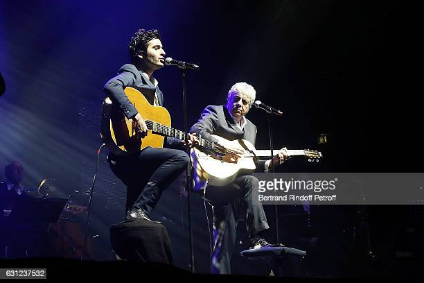 Singer Enrico Macias and his Grand Son Symon perform during Enrico Macias Show at L'Olympia on January 08 2017 in Paris France