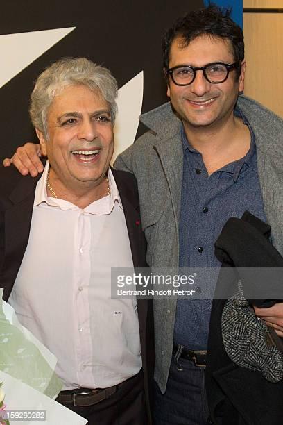 Singer Enrico Macias and his son Jean-Claude Ghrenassia attend the screening of 'Enrico Macias, la vie en chansons' , a documentary by Antoine...
