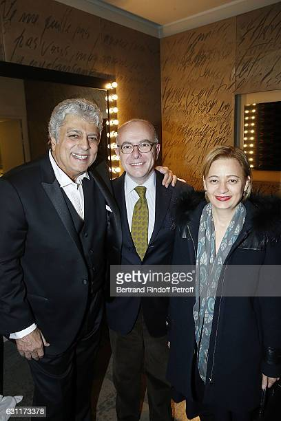 Singer Enrico Macias French Prime Minister Bernard Caseneuve and his wife Veronique Caseneuve attend the Enrico Macias Show at L'Olympia on January 7...