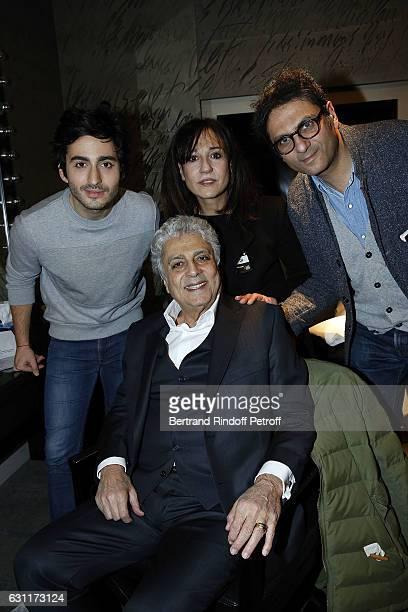 Singer Enrico Macias, his Grand Son Symon Mill, his daughter Jocya Macias and his son Jean-Claude Ghrenassia attend the Enrico Macias Show at...