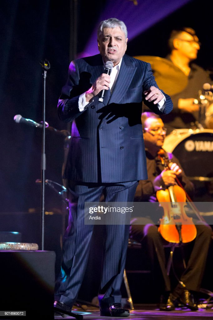 Singer Enrico Macias on stage during a concert at La Palestre concert hall in Le Cannet, on .