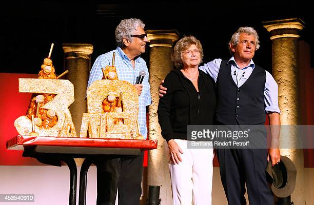 Singer Enrico Macias President of Ramatuelle Festival Jacqueline Franjou and Artistic Director of the Festival Michel Boujenah pose near a Birthday...