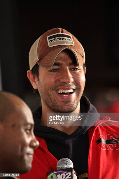 Singer Enrique Iglesias gives an interview at Radio Staion Q102's Springle Ball May 22 2012 at the Wells Fargo Center in Philadelphia Pennsylvania