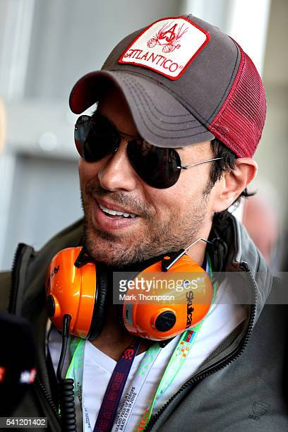 Singer Enrique Iglesias in the Pitlane before the European Formula One Grand Prix at Baku City Circuit on June 19 2016 in Baku Azerbaijan