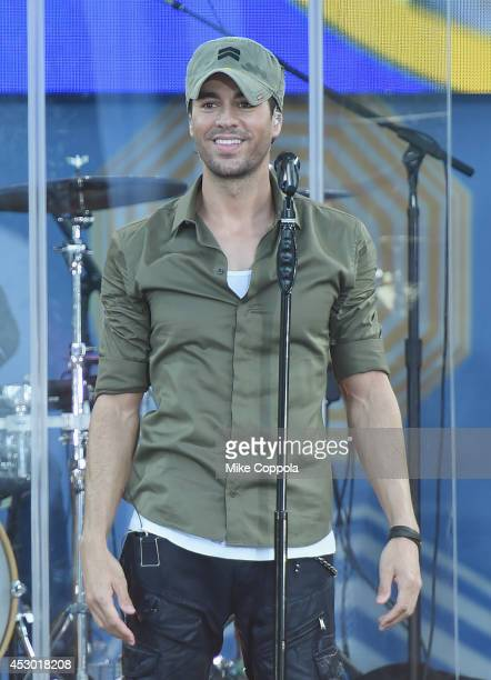 Singer Enrique Iglesias performs On ABC's 'Good Morning America' at Rumsey Playfield Central Park on August 1 2014 in New York City