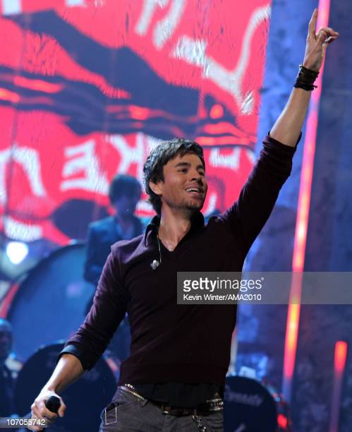 Singer Enrique Iglesias performs onstage during the 2010 American Music Awards held at Nokia Theatre LA Live on November 21 2010 in Los Angeles...